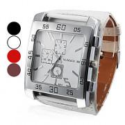 Женские аналоговые кварцевые наручные часы с большим квадратным циферблатом и ремешком из кожзама (разные цвета)