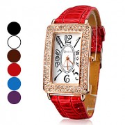 Женские аналоговые кварцевые наручные часы с ремешком из кожзама (разные цвета)