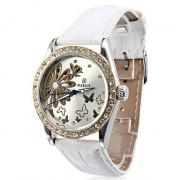 Женские аналоговые механические наручные часы с ремешком из кожзама (белые)