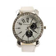Женские кварцевые часы с крупным циферблатом (белые)