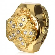 Женские золотые крышки цветка сплава кольцо Кварцевые часы