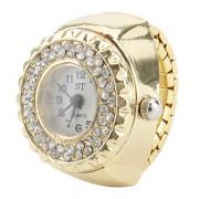 женский золотой сплав стиля аналоговые кварцевые часы кольцо (золото)