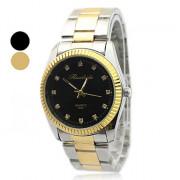 Золотой стальной ленты аналогового кварцевые наручные часы для мужчин с кристаллом оформлен циферблат