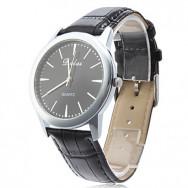 Элегантный мужской Деловой стиль PU аналоговые кварцевые наручные часы (черный)