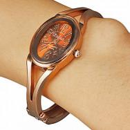 Эллиптический набор женского Браун сплава группы кварцевые аналоговые часы браслет